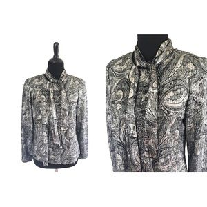 Another Thyme | Vintage 80's Paisley Silver Blouse